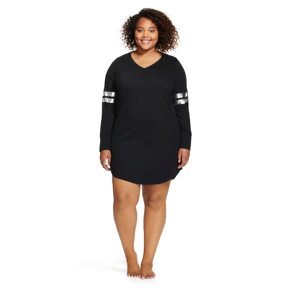 Plus Size Women's Plus Athletic Detail Sleep Shirt - Xhilaration - Black 1X