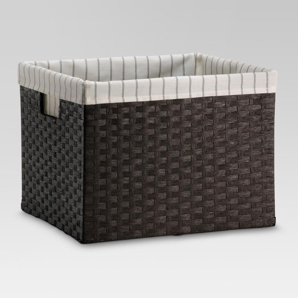 Large Lined Milk Crate - Dark Brown Weave - Threshold