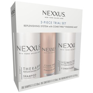 Nexxus Replenishing System With Comb Thru Finishing Mist Hair Care 3pc Trial Set