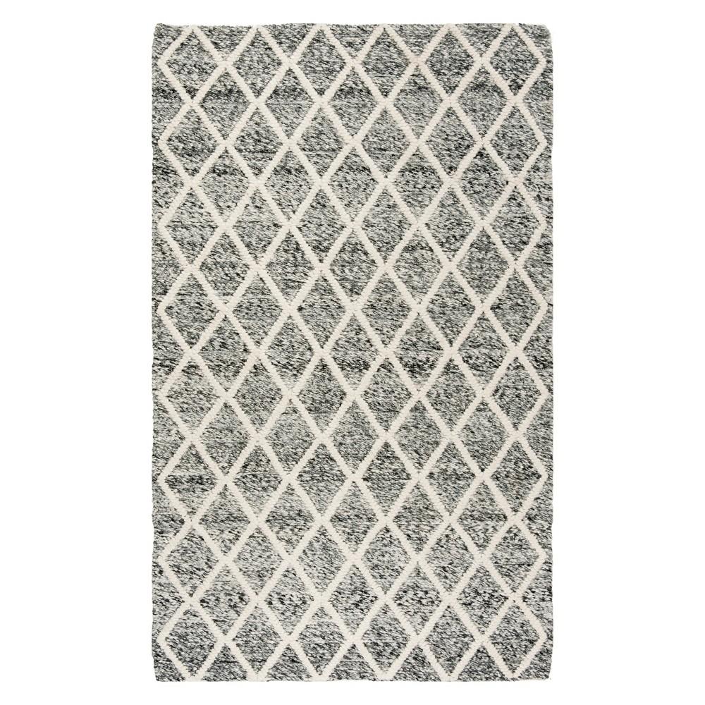 6'X9' Diamond Woven Area Rug Ivory/Black - Safavieh