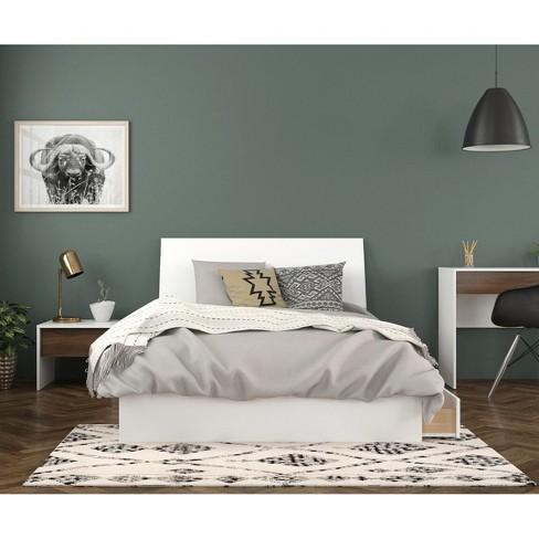 Full 3pc Sahara Platform Bed Bundle White/Walnut - Nexera - image 1 of 4