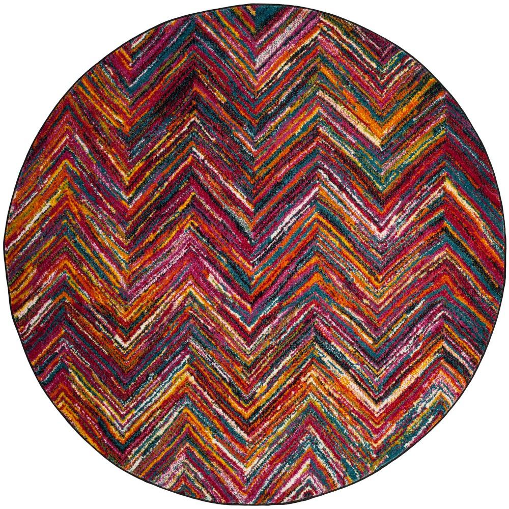 6'7 Zig Zag Round Area Rug - Safavieh, Multicolored