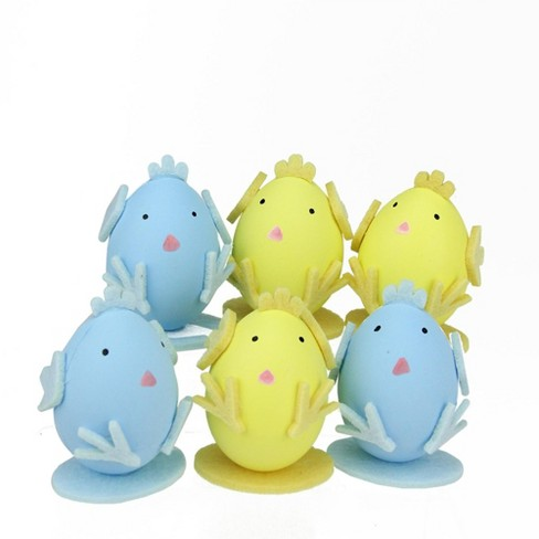 Northlight 6ct Felt Easter Egg Chicken Spring Figure Decorations 2 75 Yellow Blue