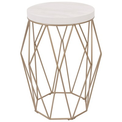 Superbe Geometric Wire Accent Table With Faux Marble Top Gold   Silverwood