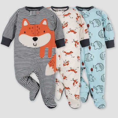 Gerber Baby Boys' 3pk Fox Zip-Front Sleep N' Play - Gray 0-3M