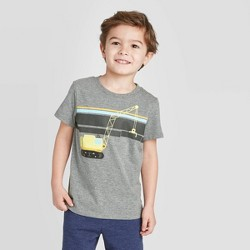 Toddler Boys' Short Sleeve Construction Graphic Stripe T-Shirt - Cat & Jack™ Charcoal Gray