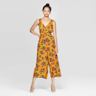 Women's Floral Print Sleeveless V-Neck Smocked Waist Button Front Cropped Jumpsuit - Xhilaration™ Yellow L