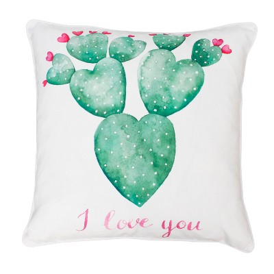 Décor Therapy 20 x20  Sandrine Cindy Succulent Throw Pillow White
