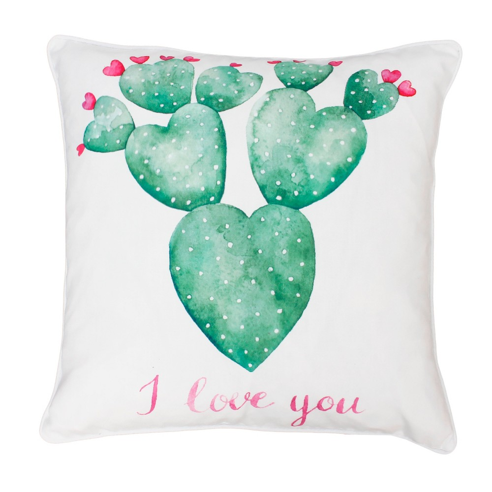 """Image of """"Décor Therapy 20""""""""x20"""""""" Sandrine Cindy Succulent Throw Pillow White"""""""