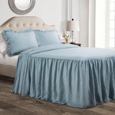 Queen 3pc Ruffle Skirt Bedspread Set Lake Blue - Lush Décor