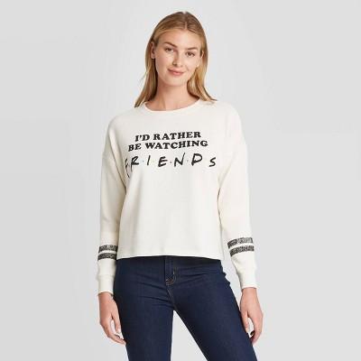 Women's I'd Rather be Watching Friends Graphic Sweatshirt - White