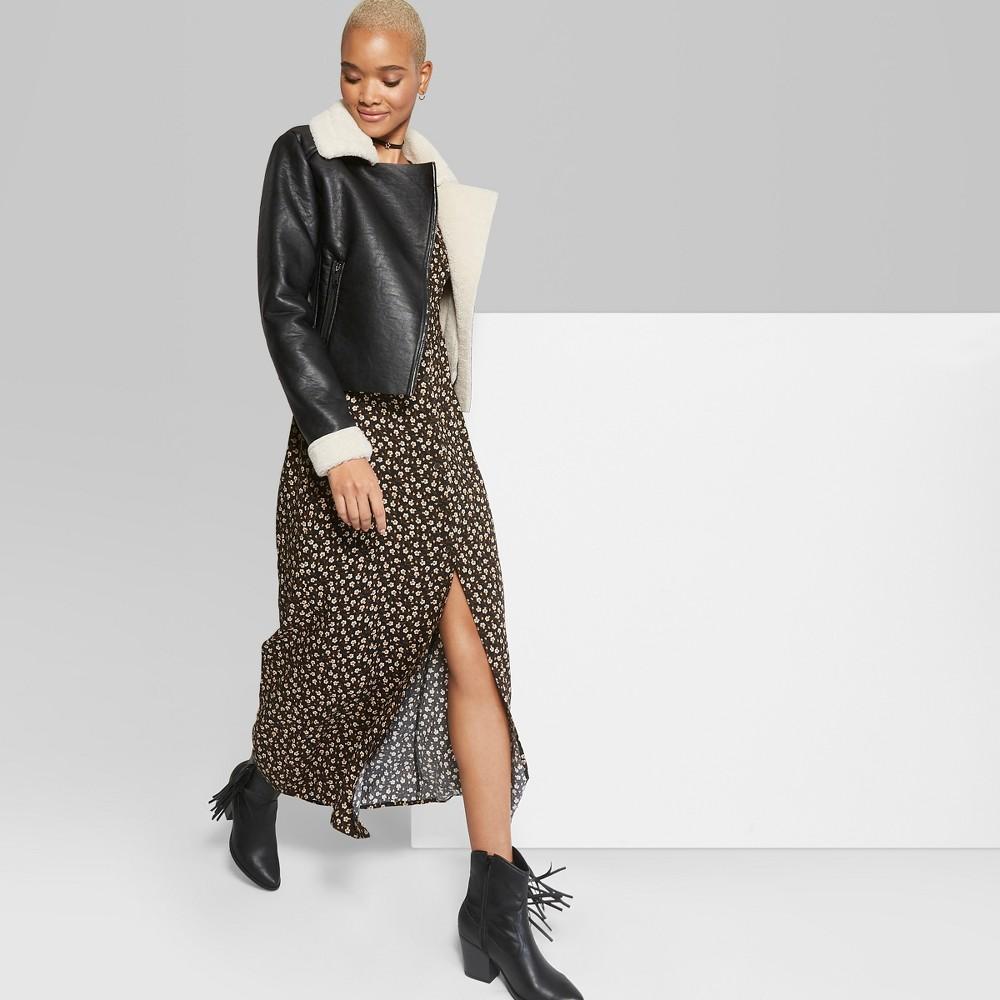 Women's Floral Print Button Front Maxi Dress - Wild Fable Black S