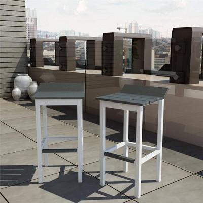 Ariesa 2pk Outdoor Bar Stools - White & Gray - CosmoLiving