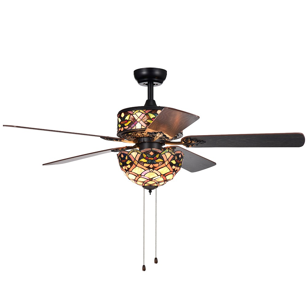 Kalsti 6 Light Lily Tiffany 5 Blade 52 Black Espresso Lighted Ceiling Fan - Warehouse of Tiffany