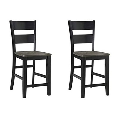 Wallace & Bay Kelley 24 Inch Durable Wood enBarstool Seat Furniture Set with Comfortable Ladder Back Design, Gray/Black (2 Pack)