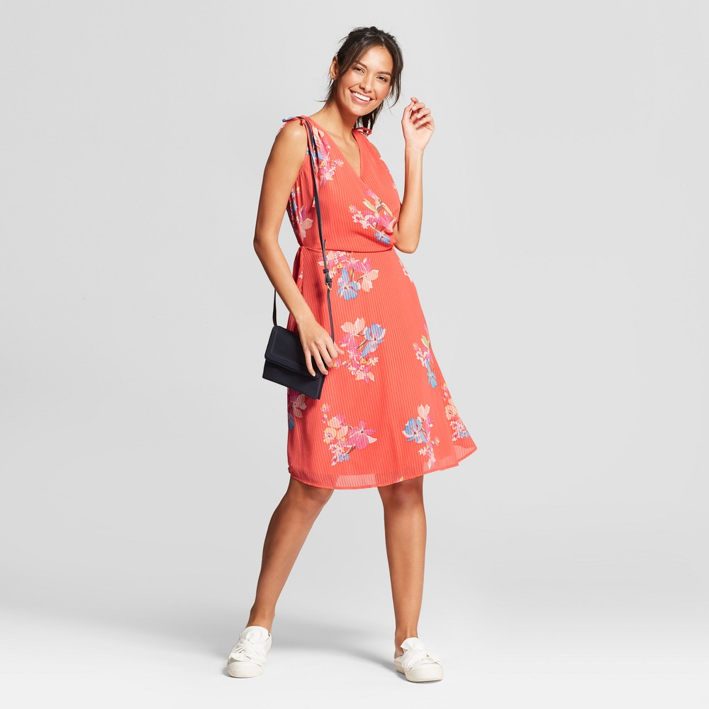 Women's Floral Tie Shoulder Dress - A New Day Coral (Pink) S