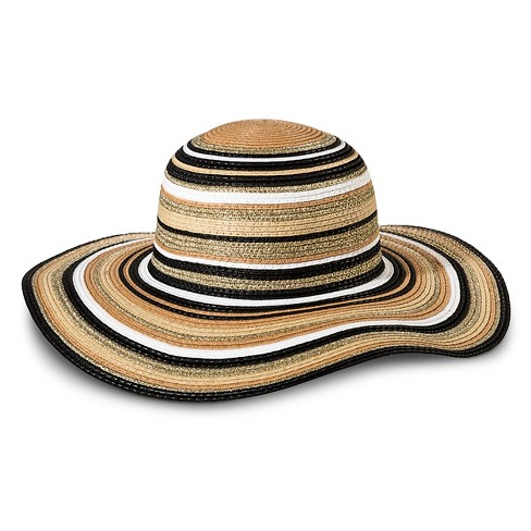 Women's Floppy Hat Striped Neutral - Merona™ - image 1 of 1