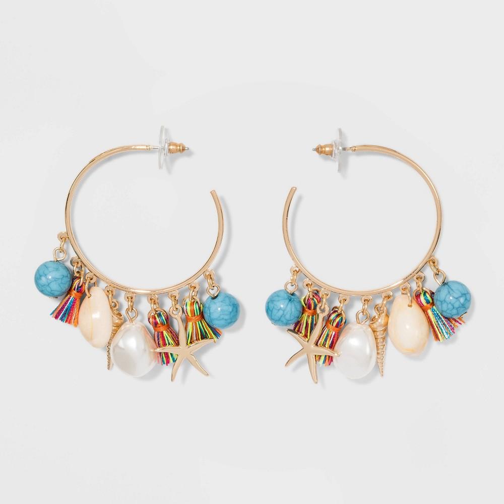 08356ab95225d Sugarfix by BaubleBar Shells Embellished Hoop Earrings Womens Multi ...