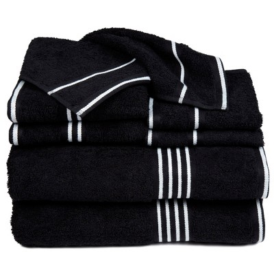 8pc Striped Bath Towel Set Black - Yorkshire Home