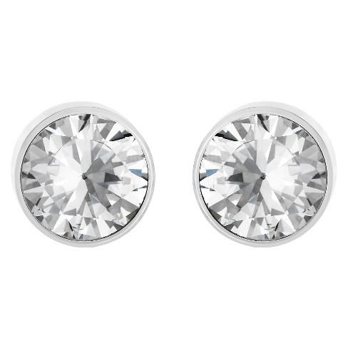 Women's Bezeled Set Cubic Zirconia Stud Stainless Steel Earrings (8mm) - Silver - image 1 of 3
