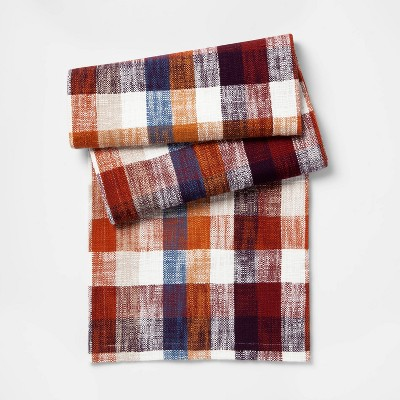 108 X14  Plaid Table Runner Cream - Threshold™