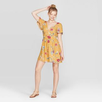 Women's Floral Print Short Sleeve V-Neck Dress - Xhilaration™ Mustard M