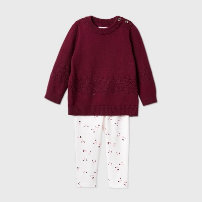 Baby Girls' Pointelle Stitch Sweater Top & Bottom Set - Cat & Jack™ Burgundy 12M