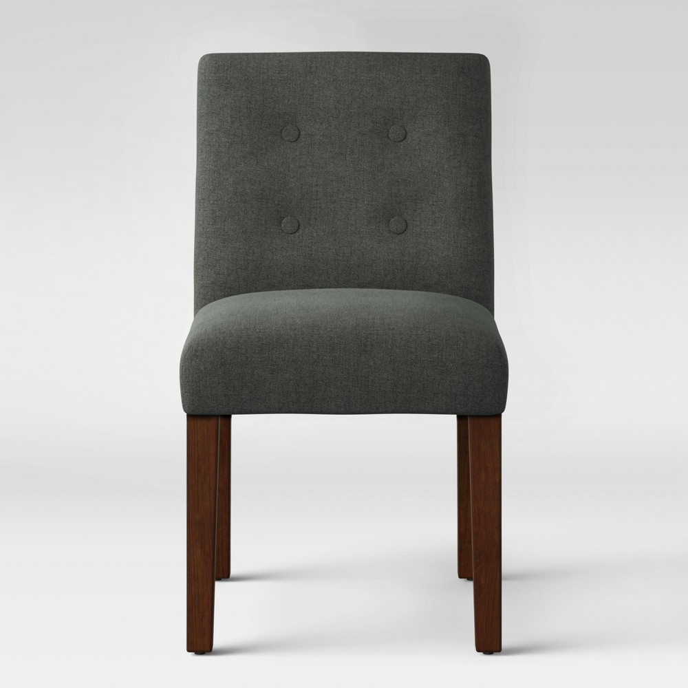Modern Parsons Dining Chair with Buttons Dark Grey - Project 62, Dark Gray
