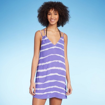 Juniors' Strappy Back Cover Up Dress - Xhilaration™ Purple Tie-Dye Print