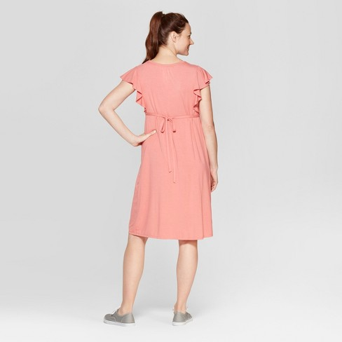 7b81b97daf630 Maternity Sleeveless Lace Front Ruffle Dress - Isabel Maternity By Ingrid &  Isabel™ Pink M : Target