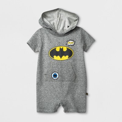 Baby Boys' DC Comics Batman Hooded Bodysuit with Kangaroo Pocket - Gray 6-9M