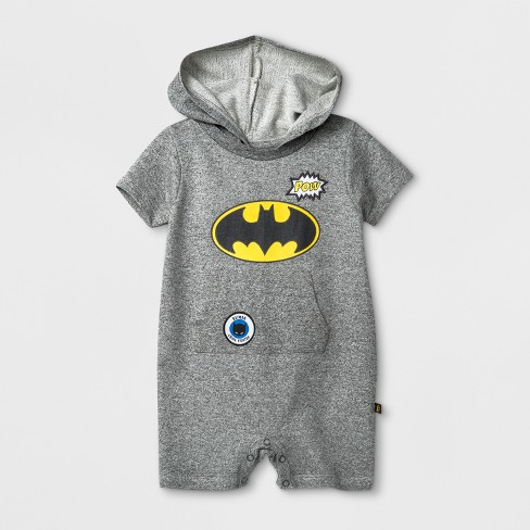 01bb654a0fc Baby Boys  DC Comics Batman Hooded Bodysuit with Kangaroo Pocket - Gray