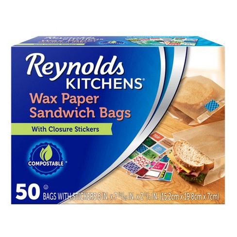 Reynolds Kitchens Wax Paper Sandwich Bags With Stickers 50ct
