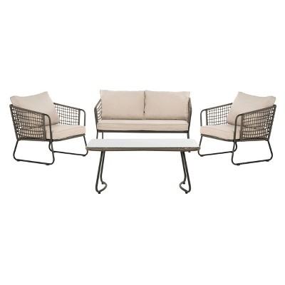 Benjin 4pc Living Set - Gray/Beige - Safavieh
