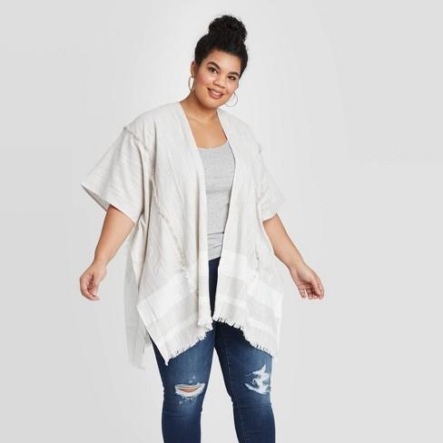 Women's Woven Striped Kimono - Universal Thread™ Gray One Size - image 1 of 2