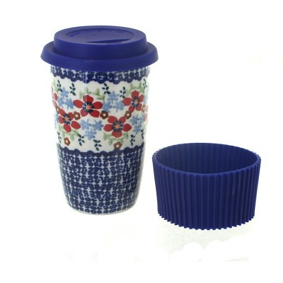 Blue Rose Polish Pottery Red Poppy Travel Coffee Mug