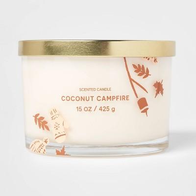 15oz Lidded Glass Jar Cream Novelty Fall Print 3-Wick Coconut Campfire Candle - Opalhouse™