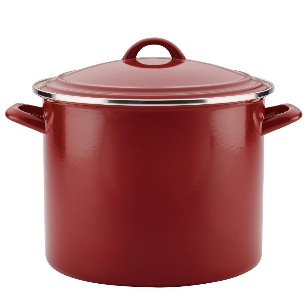 Ayesha Curry 12qt Home Collection Enamel on Steel Stockpot, Sienna Red