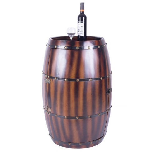 Wooden Wine Barrel Bar Cabinet End Table with Latch Brown - Vintiquewise - image 1 of 7