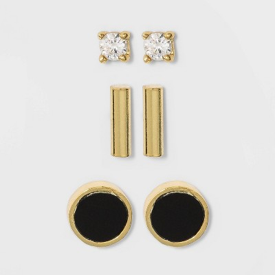 Sterling Silver with Clear Cubic Zirconia and Gold Onyx Bar Stud Earring Set 3pc - A New Day™ Gold