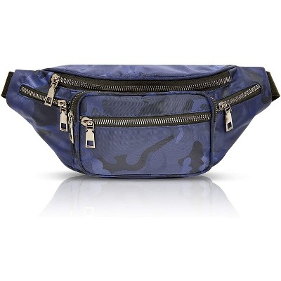 Plus Size Blue Camo Fanny Pack, Waist Bag with Adjustable Waistband 29-49 In