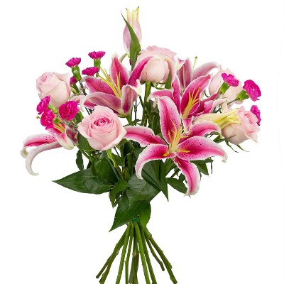 Colour Republic Light Pink Garden Rose Bouquet