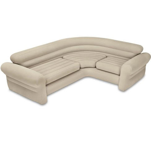 Intex Inflatable Corner Sectional Sofa + Queen Inflatable Pull-Out ...