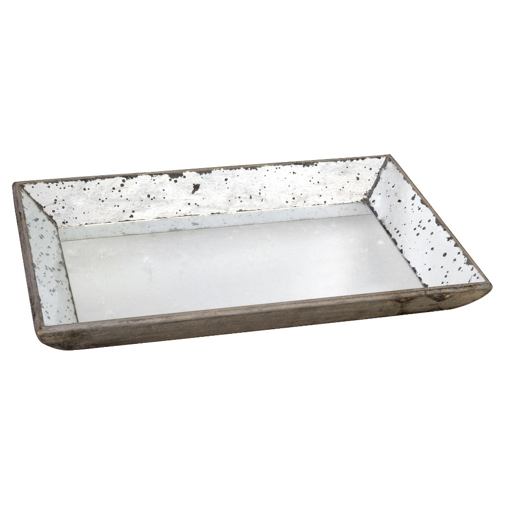 Vintage Finish Mirrored Glass Tray - 13x19.5, Silver Gray
