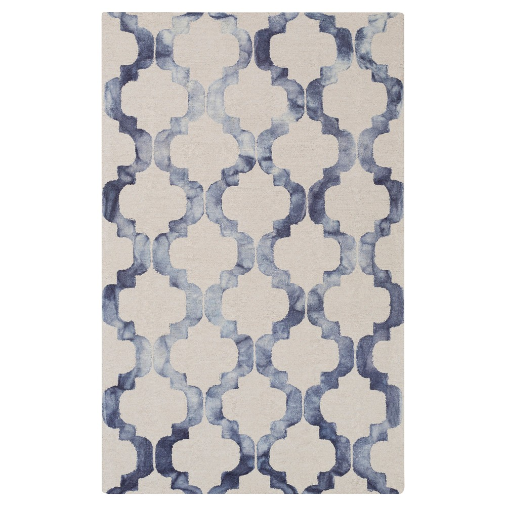 Ivory/Blue Abstract Hooked Accent Rug - (2'X3') - Surya