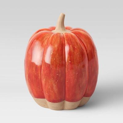 "4.5"" x 3.3"" Decorative Ceramic Pumpkin Rust - Threshold™"