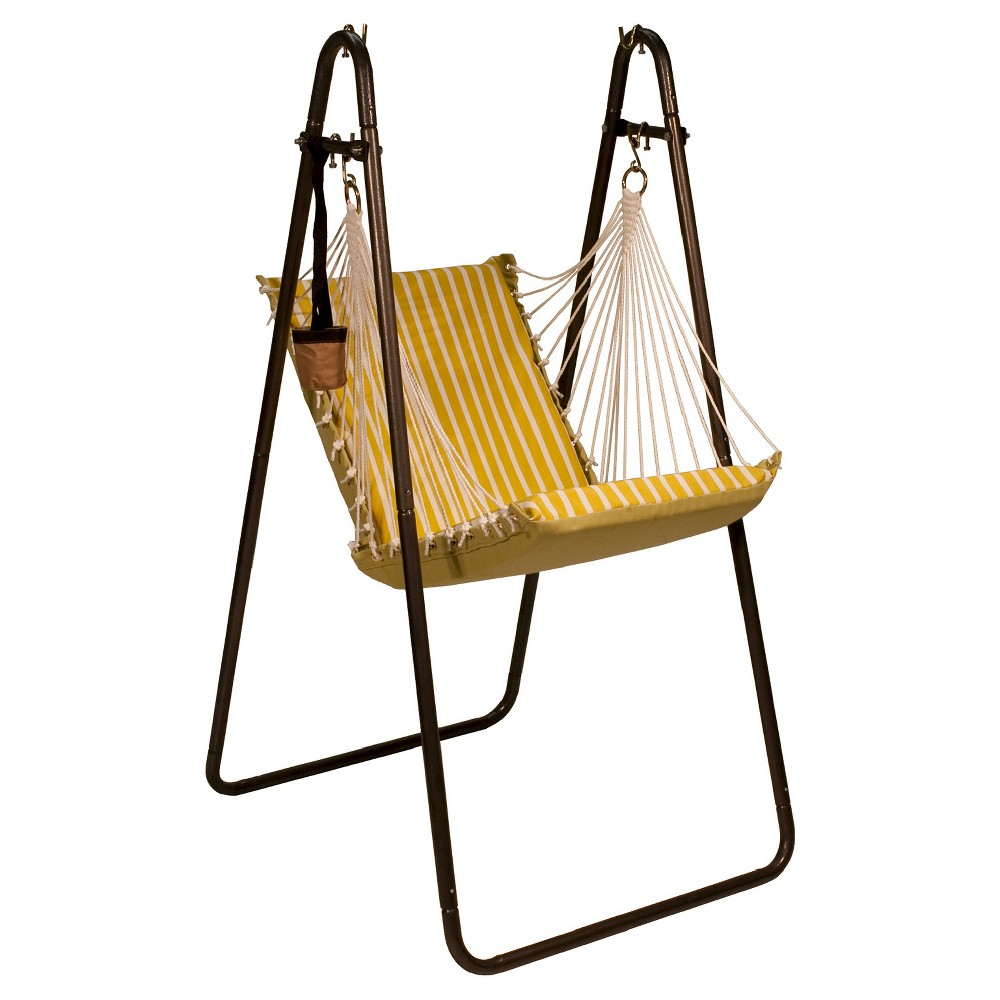 Algoma Sunbrella Soft Comfort Hanging Chair with Stand - Shore Citron Stripe/Echo Citron Solid, Yellow