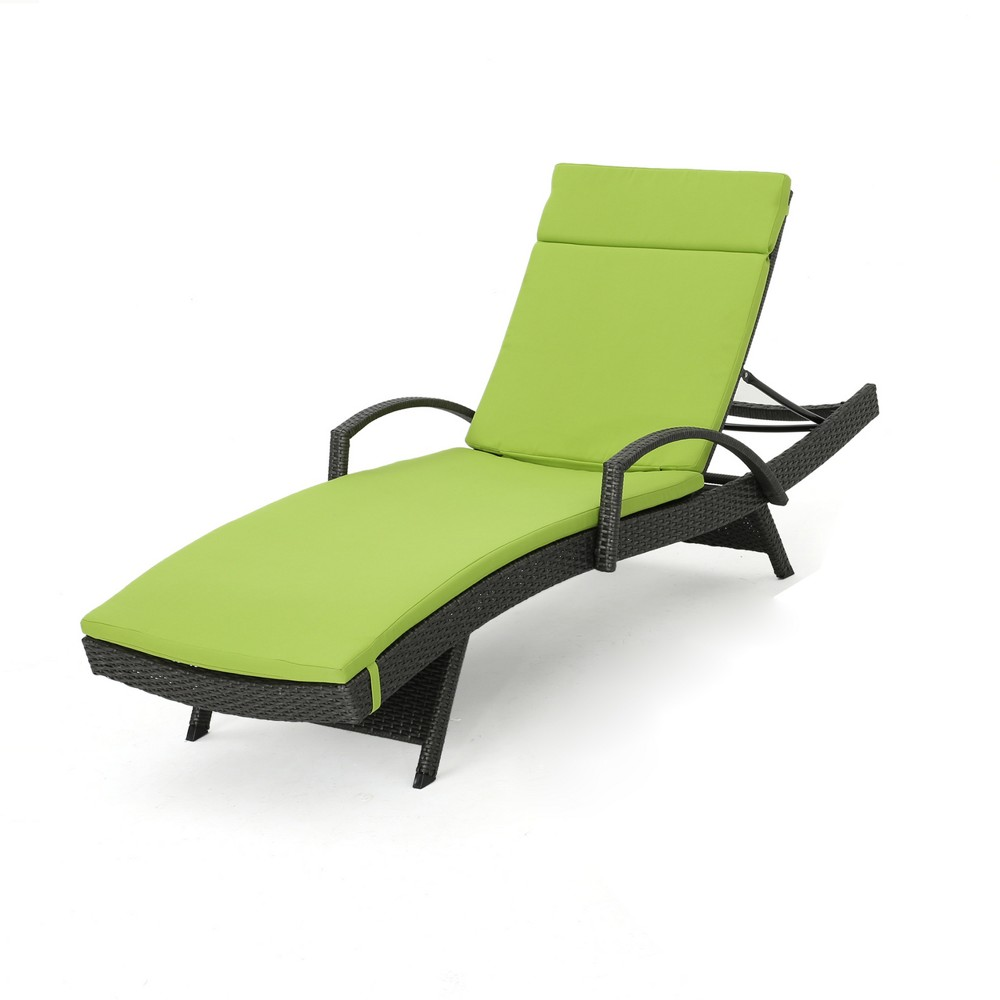 Salem Gray Wicker Adjustable Chaise Lounge with Arms - Green - Christopher Knight Home