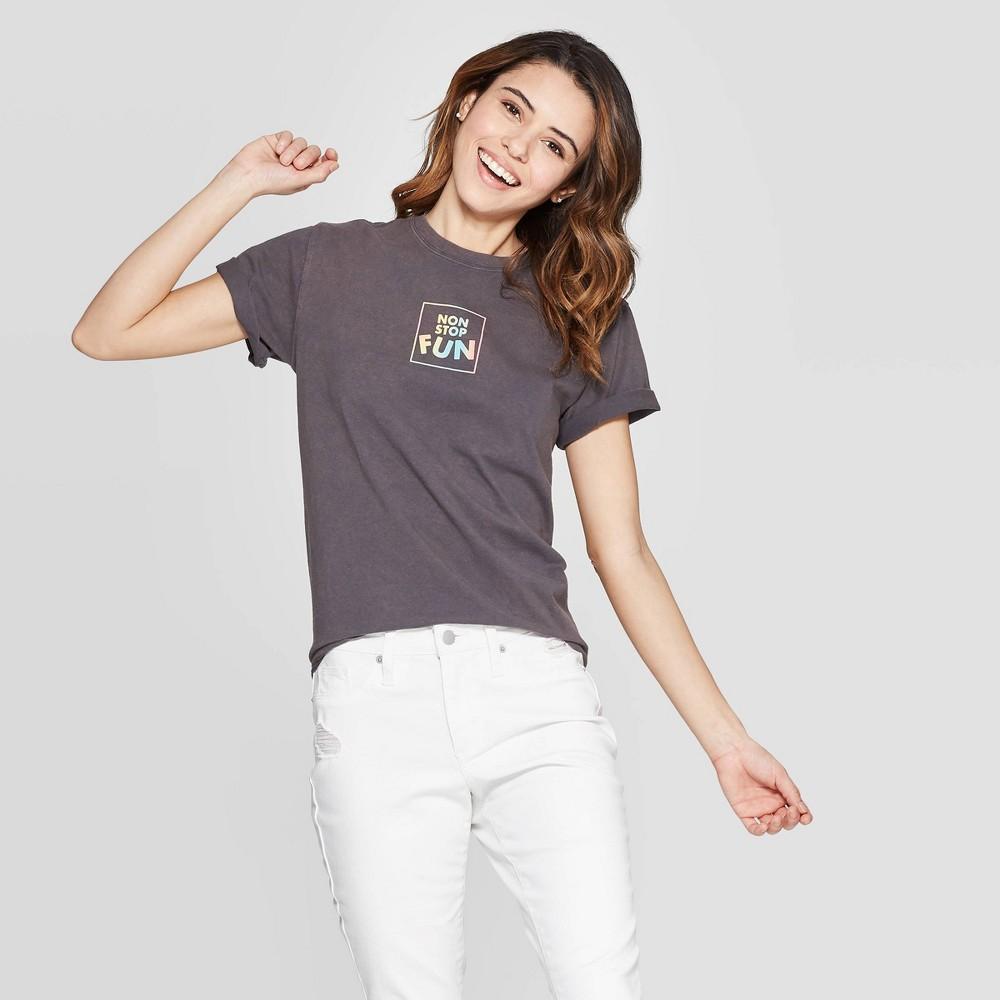 Women's Short Sleeve Non Stop Fun T-Shirt - Mighty Fine (Juniors') - Charcoal Wash M, Black