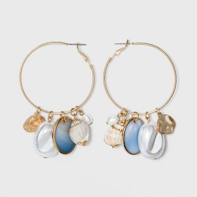 Pearl and Shell Charms Hoop Earrings - A New Day™